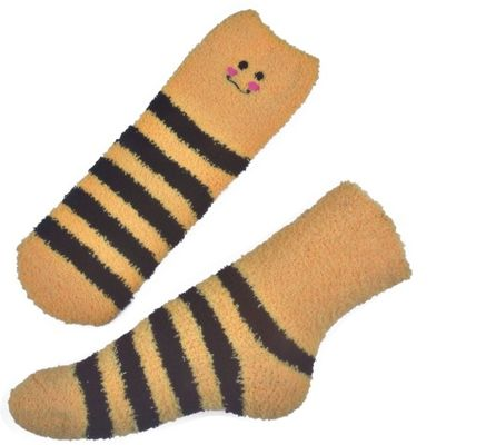 China Yellow Smile pattern mens aloe socks Polyester plush therapy 19x13x8.5 cm supplier