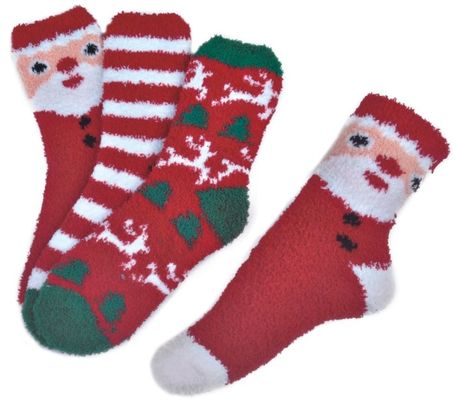 China Polyester plush therapy foot spa socks Christmas theme Winter supplier