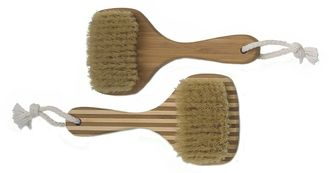 Square Shape Head Bamboo Bristle Bath Body Brush with Short Handle