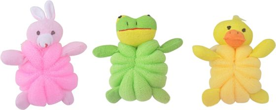 China Rabbit / Frog / Duck & PE Netted Mesh Bath Sponge For Exfoliating / Bubble Shower supplier