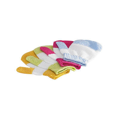 Colored Nylon Exfoliating Bath Gloves Stripe Pattern Quickly Wipe Off Dirt